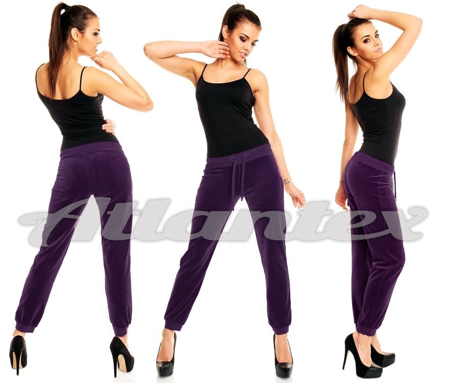 Spodnie dresowe damskie z weluru fiolet