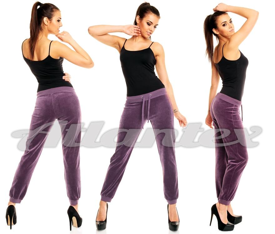 Spodnie dresowe damskie sliwka