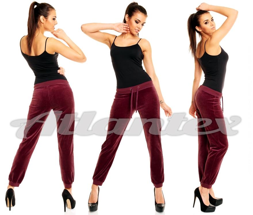 spodnie dresowe damskie z weluru bordowe